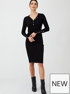 v-by-very-v-neck-button-front-dress-black