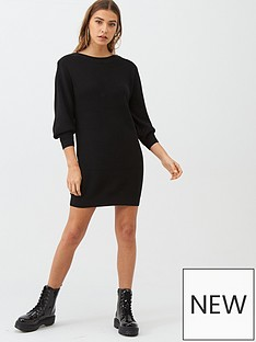 v-by-very-zip-shoulder-dress-black