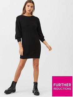 v-by-very-zip-shoulder-dress-black