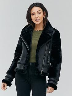 michelle-keegan-faux-fur-shearling-biker-coat-black