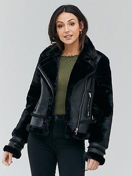 michelle-keegan-faux-fur-shearling-biker-coat-black