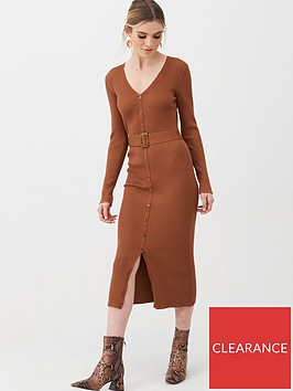 v-by-very-self-belt-knitted-button-down-dress-rust