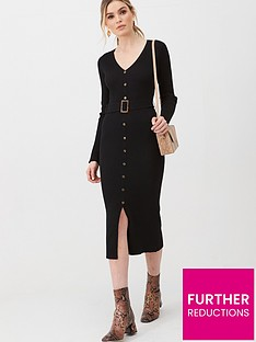 v-by-very-self-belt-knitted-button-down-dress-black