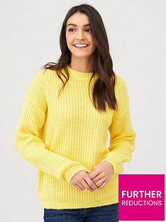 v-by-very-balloon-sleeve-wide-knit-jumper-yellow