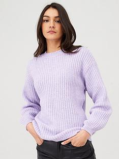 v-by-very-balloon-sleeve-wide-knit-jumper-purple