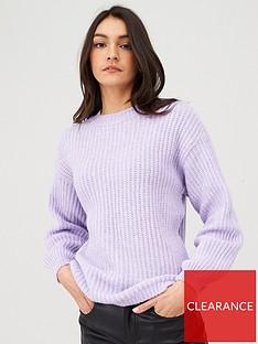 v-by-very-balloon-sleeve-wide-knit-jumper-purple