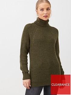 v-by-very-roll-neck-longline-jumper-khaki