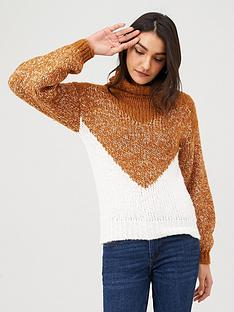 v-by-very-roll-neck-cheveron-jumper-multi