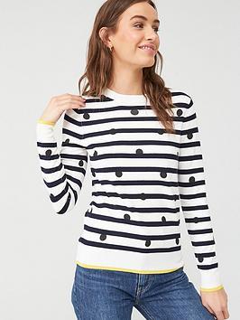 v-by-very-crew-neck-spot-amp-stripe-jumper-spot-print