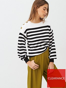 v-by-very-stripe-button-shoulder-jumper-mono