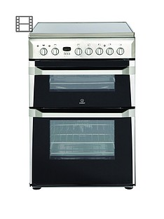 Indesit ID60C2X 60cm Wide Double Oven Electric Cooker with Ceramic Hob - Stainless Steel Best Price, Cheapest Prices