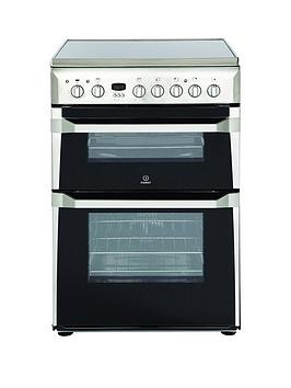 Indesit Id60C2X 60Cm Wide Double Oven Electric Cooker With Ceramic Hob - Stainless Steel
