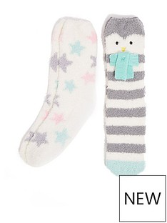 oasis-2-pack-cosy-penguin-socks-multi