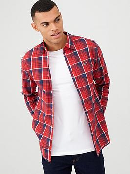 tommy-jeans-checked-long-sleeved-poplin-shirt-red