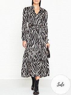 gestuz-fei-zebra-print-midi-dress-black