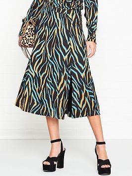 gestuz-uzma-zebra-print-midi-skirt-blue