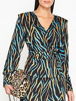 gestuz-uzma-zebra-print-blouse-blue