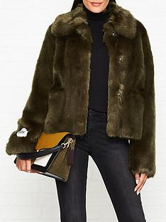 jakke-tammy-round-collar-faux-fur-short-jacket-khaki