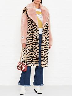jakke-kelly-pink-tiger-mix-faux-fur-coat-pink