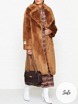 jakke-katie-classic-faux-fur-coat-brown