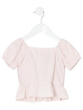 river-island-mini-mini-girls-gingham-print-shirred-top-pink