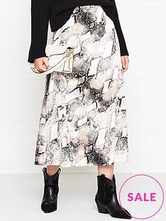 gestuz-baran-snake-print-midi-skirt-grey