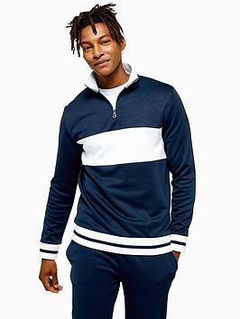 topman-topman-panel-half-zip-sweat-top-navy