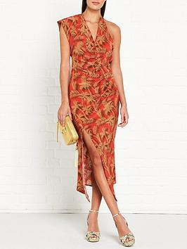 bec-bridge-shady-palm-print-asymmetric-midi-dress-red