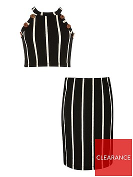 river-island-girls-stripe-crop-top-and-skirt-outfit-black
