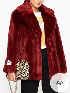 jakke-heather-faux-fur-jacket-red