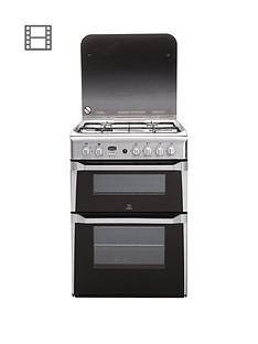 Indesit ID60G2X 60cm Double Oven Gas Cooker with FSD - Stainless Steel