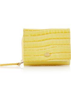 lulu-guinness-lip-pin-croc-lewis-wallet-yellow