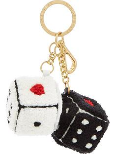 lulu-guinness-dice-keyring-black