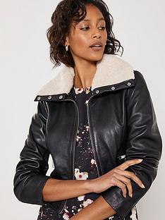 mint-velvet-faux-fur-collar-leather-jacket-black