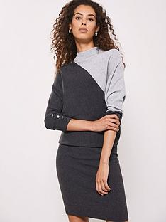 mint-velvet-blocked-detail-batwing-dress-grey