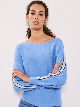 mint-velvet-ottoman-stripe-slash-neck-batwing-jumper-blue