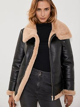 mint-velvet-faux-fur-collar-aviator-jacket-chocolate
