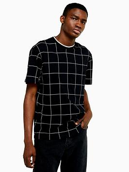 topman-topman-window-pane-check-t-shirt-black
