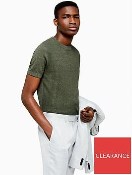 topman-topman-short-sleeve-knitted-jumper-khaki