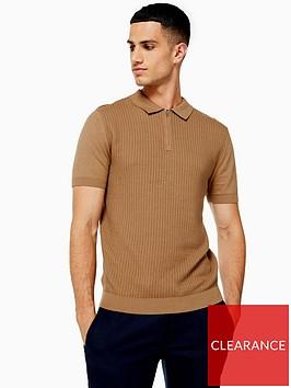 topman-topman-knitted-zip-polo-shirt-camel