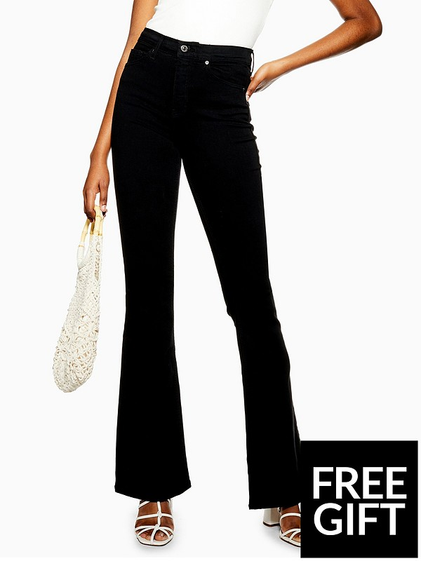 best place hot product online Topshop Jamie High Waist Stretch Flare Jeans - Black