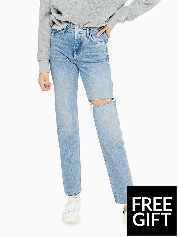 fine craftsmanship the latest latest sale Topshop Bleach Wash Ripped Straight Leg Jeans - Bleached