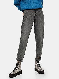 topshop-grey-ripped-hem-high-waist-mom-jeans-grey