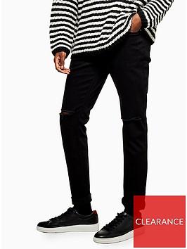 topman-topmannbspdouble-ripped-stretch-skinny-jeans-black