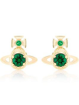 vivienne-westwood-ouroboros-small-orb-earrings-goldgreen