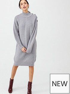 v-by-very-funnel-neck-button-knitted-dress-grey