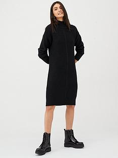 v-by-very-funnel-neck-button-knitted-dress-black