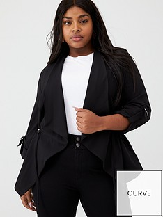v-by-very-curve-ruched-waist-waterfall-jacket-black