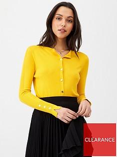 v-by-very-core-rib-detail-crew-cardigan-mustard