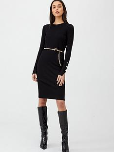 v-by-very-shoulder-button-dress-black